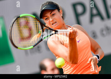 Paris, France. 23rd May, 2018. Margot Yerolymos of France returns the ball to Lu Jiajing of China during the women's singles Qualification 1st round match of French Open in Paris, France on May 23, 2018. Margot Yerolymos won 2-0. Credit: Chen Yichen/Xinhua/Alamy Live News - Stock Photo