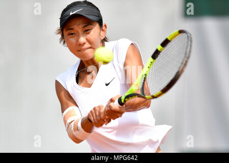Paris. 23rd May, 2018. Lu Jiajing of China returns the ball to Margot Yerolymos of France during the women's singles Qualification 1st round match of French Open in Paris, France on May 23, 2018. Lu lost 0-2. Credit: Chen Yichen/Xinhua/Alamy Live News - Stock Photo