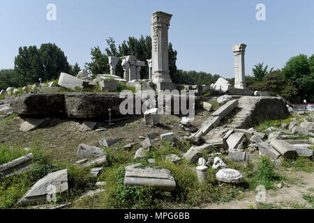 Beijing, China. 23rd May, 2018. Photo taken on May 23, 2018 shows ruins of Yuanying Guan (Immense Ocean Observatory) at Yuanmingyuan in Beijing, capital of China. The four-month reinforcement project of ruins of Immense Ocean Observatory at the historical site of Yuanmingyuan started lately. Credit: Luo Xiaoguang/Xinhua/Alamy Live News - Stock Photo