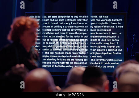 Hempstead, New York, USA. 23rd May, 2018. Text of speech of New York State Comptroller Thomas DiMapoli appears on screen as he accepts party nomination during Day 1 of New York State Democratic Convention, held at Hofstra University on Long Island. Credit: Ann Parry/ZUMA Wire/Alamy Live News - Stock Photo