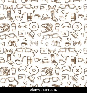 Seamless Hipster pattern in white color with retro and vintage symbols. Modern fashionable background with a brown stroke. Cartoon hand draw style - Stock Photo