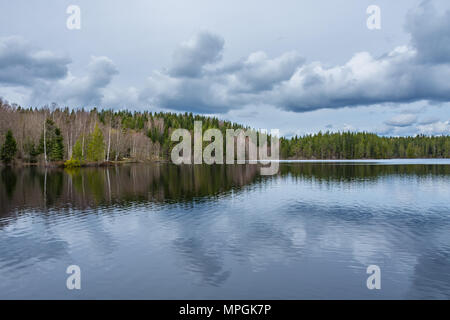 Lake reflection of the lakeshore forest and cloudy sky. Taken along the Bergslagsleden hiking trail, in nature reserve Ånnaboda in central Sweden. - Stock Photo
