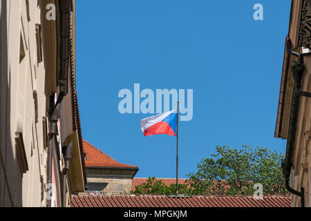 The czech flag waving on the roof - Stock Photo