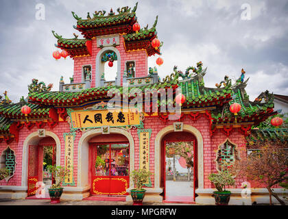 Hoi An, Vietnam - February 17, 2016: Gate to the Fujian chinese Assembly Hall in Hoi An, Vietnam - Stock Photo
