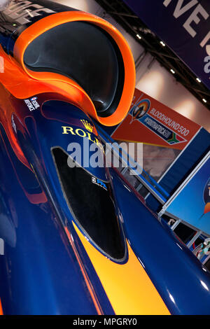 Close-up of the air-intake and cockpit of Bloodhound SSC, on display at the 2018 London Motor Show - Stock Photo