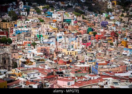 View of the city from El Pípila monument, Monumento al Pipila, Guanajuato, city in Central MexicoGuanajuato, city in Central Mexico - Stock Photo