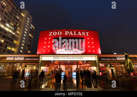Historic 'Zoo Palast' cinema in Berlin at night. Built in the late 50s, it had hosted the Berlin International Film Festival (Berlinale) for decades. - Stock Photo