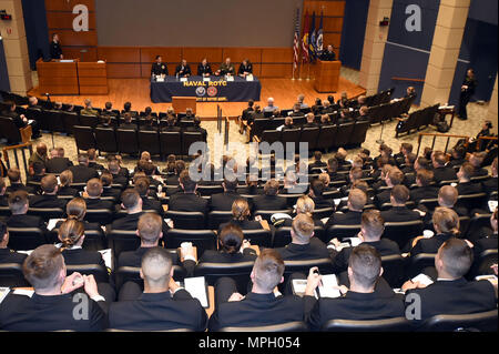 170224-N-IK959-762 SOUTH BEND, Ind. (Feb. 24, 2017) More than 250 Naval Reserve Officers Training Corps midshipmen listen to a panel of Navy and Marine Corps junior officers at the 22nd annual Naval Leadership Weekend Seminar. (U.S. Navy photo by Scott A. Thornbloom/Released) - Stock Photo