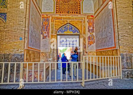 Isfahan Ali Qapu Palace entrance - Stock Photo