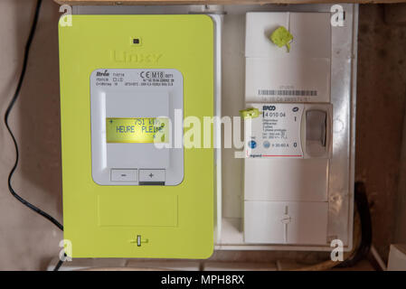 Paris, France - May  04, 2018 : New smart electric meter Linky from ERDF (Electricity Network Distribution France) - Stock Photo