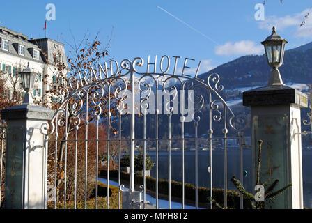 The wrought iron entrance gate of the Grand Hotel in Zell am See, Austria. - Stock Photo