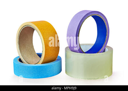Four rolls of adhesive tape of different colors and for different purposes isolated on white background, with saved path. - Stock Photo