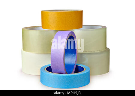 Several rolls of packaging duct tape in different colors and for different purposes isolated on white background, with clipping path. - Stock Photo