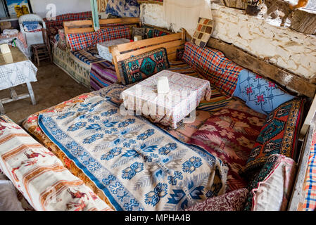 View of a restaurant eating corner where traditional Turkish food Gozleme(pastries,pancake) is sold at Sirince Village,in Selcuk,Izmir,Turkey. 21 Augu - Stock Photo