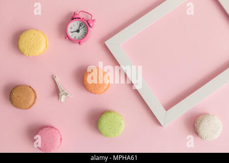 Flat lay of French tradition symbols minimal creative concept. - Stock Photo