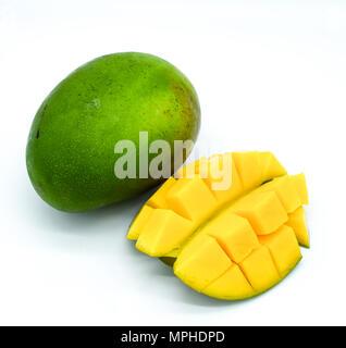 Mango isolated on white background, mango slices, mango fruit cut - Stock Photo