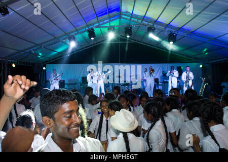 170314-N-SF984-064   MATARA, Sri Lanka (March 14, 2017) The U.S. 7th Fleet Band, Far East Edition, performs at Matara City Center as part of Pacific Partnership 2017. Pacific Partnership is the largest annual multilateral humanitarian assistance and disaster relief preparedness mission conducted in the Indo-Asia-Pacific and aims to enhance regional coordination in areas such as medical readiness and preparedness for manmade and natural disasters. (U.S. Navy photo by Mass Communication Specialist 2nd Class Chelsea Troy Milburn/Released) - Stock Photo