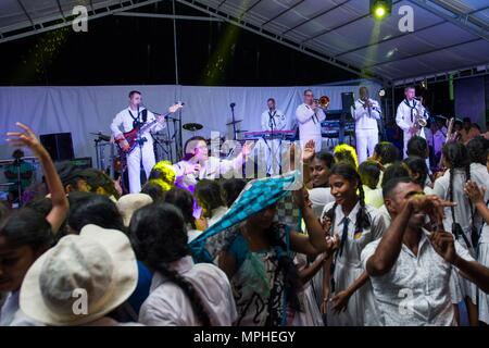 170314-N-SF984-115   MATARA, Sri Lanka (March 14, 2017) The U.S. 7th Fleet Band, Far East Edition, performs at Matara City Center as part of Pacific Partnership 2017. Pacific Partnership is the largest annual multilateral humanitarian assistance and disaster relief preparedness mission conducted in the Indo-Asia-Pacific and aims to enhance regional coordination in areas such as medical readiness and preparedness for manmade and natural disasters. (U.S. Navy photo by Mass Communication Specialist 2nd Class Chelsea Troy Milburn/Released) - Stock Photo
