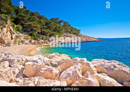 Makarska turquoise beach at sunny day view, Dalmatia region of Croatia - Stock Photo