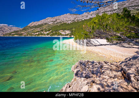 Idyllic beach Punta Rata in Brela view, Makarska riviera of Dalmatia, Croatia - Stock Photo