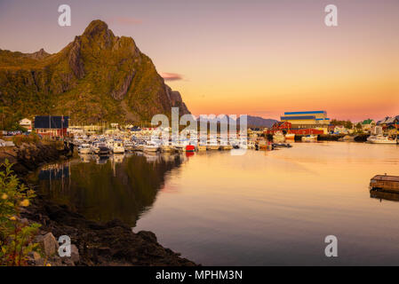 Many yachts anchored at the Marina of Svolvaer on Lofoten islands - Stock Photo