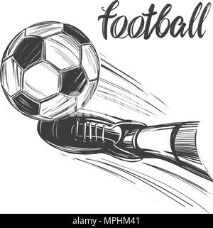 football, soccer ball, sports game, calligraphic text, emblem sign, hand drawn vector illustration sketch - Stock Photo
