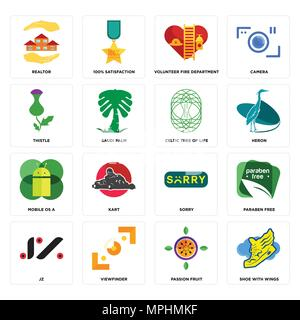 Set Of 16 simple editable icons such as shoe with wings, passion fruit, viewfinder, jz, paraben free, realtor, thistle, mobile os a, celtic tree of li - Stock Photo