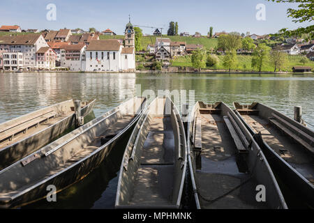 Rhine river in Eglisau, Canton Zürich, Switzerland. - Stock Photo