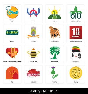Set Of 16 simple editable icons such as patel, thistle, piranha, psi, rastaman, chef, sorry, volunteer fire department, rottweiler can be used for mob - Stock Photo