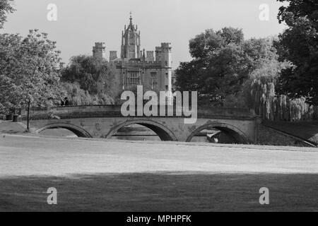 Trinity Bridge and St John's College Cambridge - Stock Photo