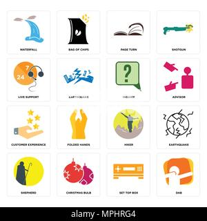 Set Of 16 simple editable icons such as dab, set top box, christmas bulb, shepherd, earthquake, waterfall, live support, customer experience, inquiry  - Stock Photo