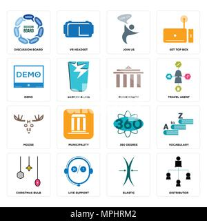 Set Of 16 simple editable icons such as distributor, elastic, live support, christmas bulb, vocabulary, discussion board, demo, moose, municipality ca - Stock Photo