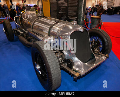 Three-quarter front view of the Napier-Railton, on the Brooklands Museum Stand, at the 2018 London Motor Show - Stock Photo