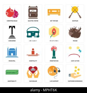 Set Of 16 simple editable icons such as customer experience, live support, car dealer, adaptability, cost uction, christmas bulb, concierge, municipal - Stock Photo