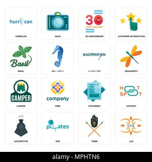 Set Of 16 simple editable icons such as lux, tribe, SOZ, locomotive, hotspot, hurrican, basil, camper, badminton can be used for mobile, web UI - Stock Photo