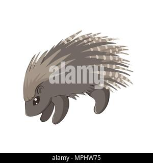 Vector illustration of cute baby porcupine isolated on white - Stock Photo