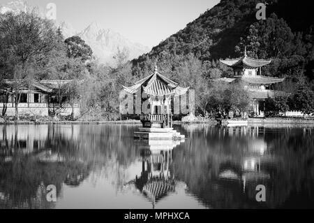 Black Dragon Pool (Old Town of Lijiang, Yunnan, China) - Stock Photo