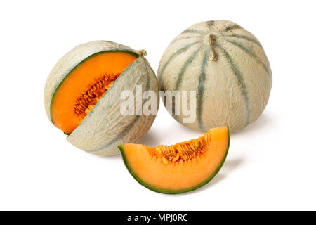 Two cantaloupe melons and one slice isolated on white - Stock Photo