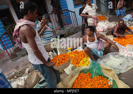 India, West Bengal, Kolkata, Malik Ghat flower market. - Stock Photo
