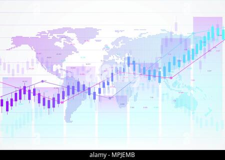Stock market and exchange. Candle stick graph chart of stock market investment trading. Stock market data. Bullish point, Trend of graph. Vector illustration. - Stock Photo