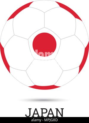 Soccer ball with Japanese national colors vector illustration - Stock Photo