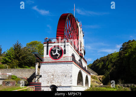 Victorian Great Laxey Wheel or Lady Isabella is part of mines trail complex is largest working waterwheel in world.  Laxey, Isle of Man, British Isles - Stock Photo