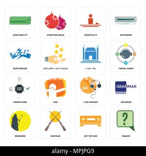 Set Of 16 simple editable icons such as inquiry, set top box, shotgun, shepherd, grammar, adaptability, earthquake, order form, municipal can be used  - Stock Photo