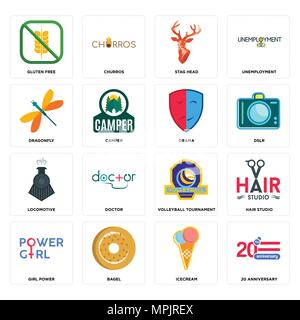 Set Of 16 simple editable icons such as 20 anniversary, icecream, bagel, girl power, hair studio, gluten free, dragonfly, locomotive, drama can be use - Stock Photo