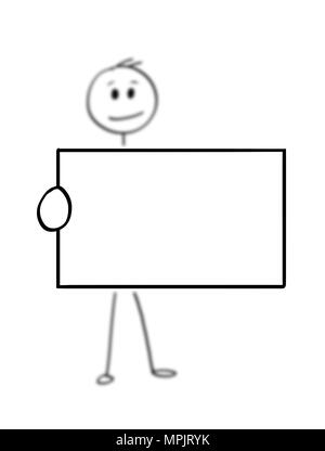 Cartoon of Man or Businessman Holding Empty or Blank Business Card or Sign - Stock Photo