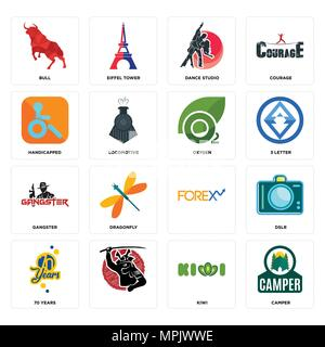 Set Of 16 simple editable icons such as camper, kiwi, , 70 years, dslr, bull, handicapped, gangster, oxygen can be used for mobile, web UI - Stock Photo