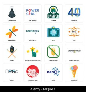 Set Of 16 simple editable icons such as icecream, nano, canadian leaf, nerd, unemployment, locomotive, dragonfly, tribe, dslr can be used for mobile,  - Stock Photo