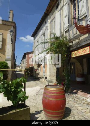 Half Timbered Houses in St. Justin, France. - Stock Photo