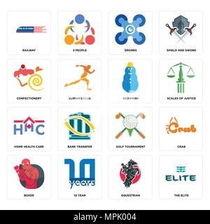 Set Of 16 simple editable icons such as the elite, equestrian, 10 year, boxer, crab, railway, confectionery, home health care, snowman can be used for - Stock Photo