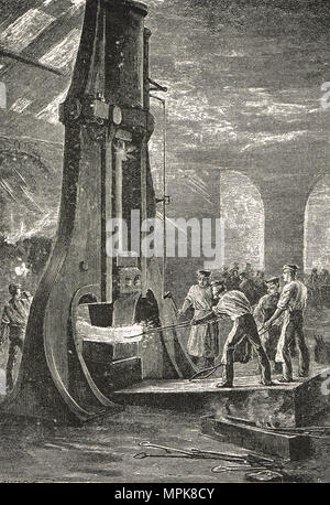 A steam hammer at work, 19th Century - Stock Photo